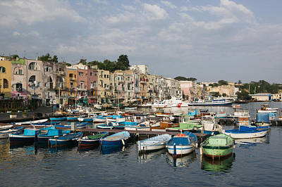 Boats Moored At A Port, Procida Art Print