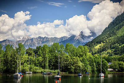 Photograph - Boats Moored On Lake Zeller Zellam See Austria by Alex Saunders