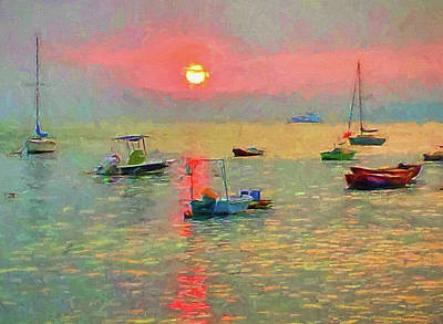 Digital Art - boats near Hong Kong by Yury Malkov