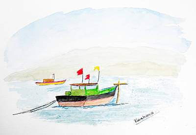 Painting - Boats Near Khashid Beach by Keshava Shukla
