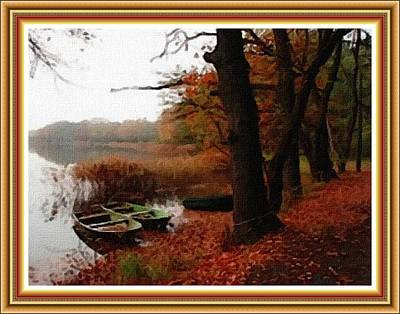 Modern Sophistication Beaches And Waves - Boats Near The Lake Side. L B With Decorative Ornate Printed Frame. by Gert J Rheeders