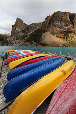 For Rent Photograph - Boats Of Moraine Lake by George Oze