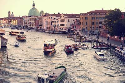 Print featuring the photograph Boats Of Venice by Brad Scott