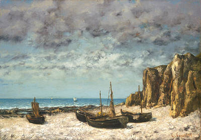 Painting - Boats On A Beach by Gustave Courbet
