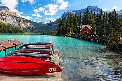 Boats On A Dock  Emerald Lake Canada Art Print by George Oze