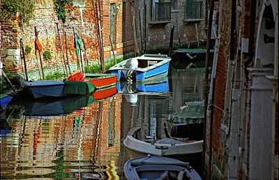 Boats On Canal In Venice Art Print by Michael Henderson