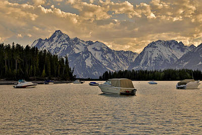Boats On Jackson Lake At Sunset Art Print