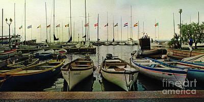 Photograph - Boats On Lake Garda by Liz Alderdice