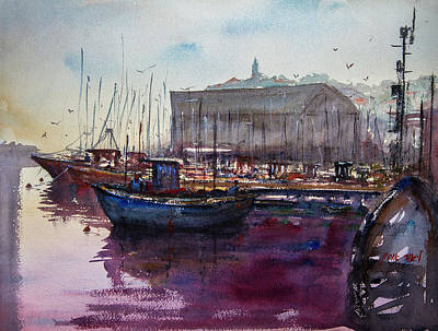Painting - Boats On Port Of Jaffa by Lior Ohayon