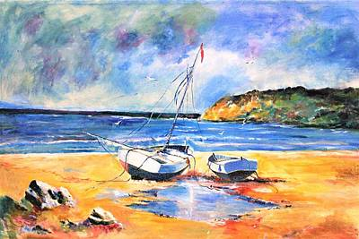 Painting - Boats On The Beach by Khalid Saeed