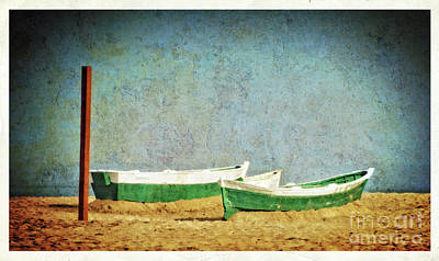 Wooden Boat Digital Art - Boats On The Beach - Valencia by Mary Machare
