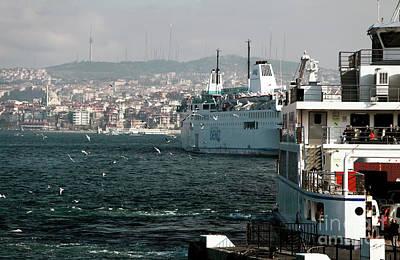Boats On The Bosphorus Print by John Rizzuto
