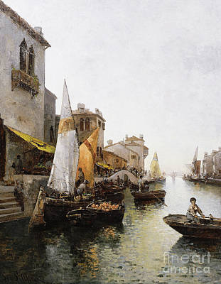 Venetian Balcony Painting - Boats On The Canal by Leo von Littrow