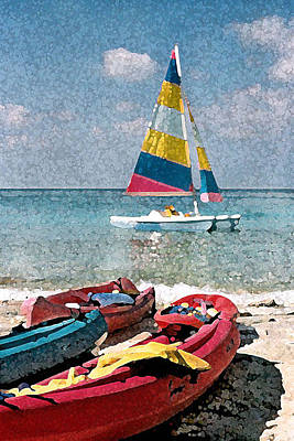 Digital Art - Boats On The Cay by Donna Corless