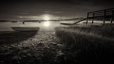 Boats On The Cove At Sunrise In The Fog - Black And White Photograph Original by Dapixara Art