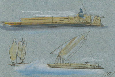 Drawing - Boats On The Nile by Edward Lear