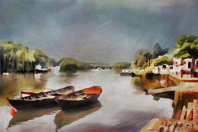 Digital Art - Boats On The River At Richmond II by Nicky Jameson