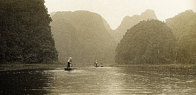 Photograph - Boats On The River Tam Coc No1 by Weston Westmoreland