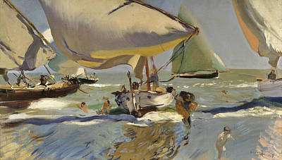 On The Shore Painting - Boats On The Shore by Joaquin Sorolla