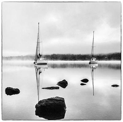 Boats On Ullswater In The Lake District Art Print