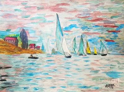 Boats On Water Monet  Art Print