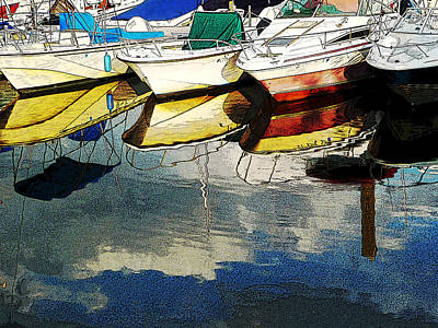 Boats Reflected - Poster     1st Place Award At Uconn Art Show  Art Print by Margie Avellino