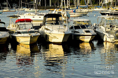 Boats Reflected Art Print by Carol F Austin