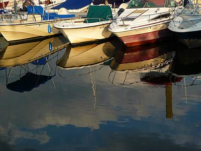 Boats Reflected Art Print by Margie Avellino