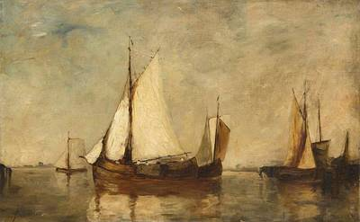 Boats Resting In Harbor Print by Auguste Musin