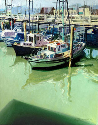 Art Print featuring the painting Boats by Sergey Zhiboedov