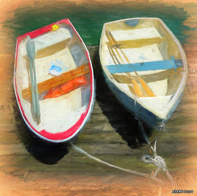 Digital Art - Boats Tied On The Landing by Ken Morris