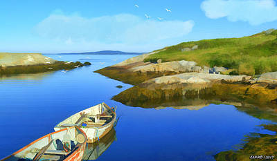 Digital Art - Boats Waiting In Calm Waters by Ken Morris