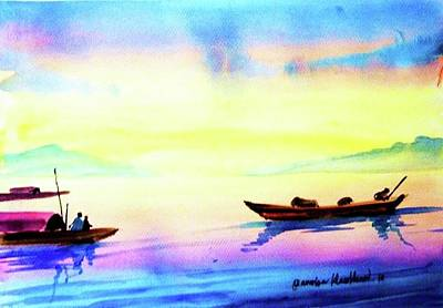 Painting - Boats by Wanvisa Klawklean