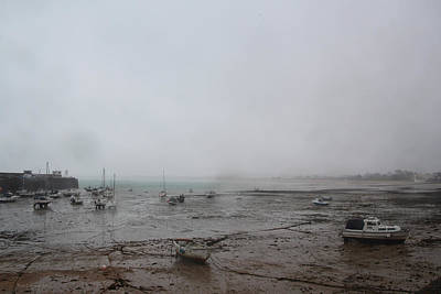 Photograph - Boats With Light Rain At Low Tide by Tom Conway