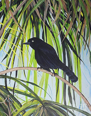 Painting - Boattail Grackle Tybee Beach Georgia by Lizi Beard-Ward