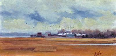 Wells Harbor Painting - Boatyard Birds by Mary Byrom