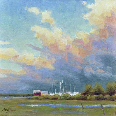 Wells Harbor Painting - Boatyard Clouds by Mary Byrom