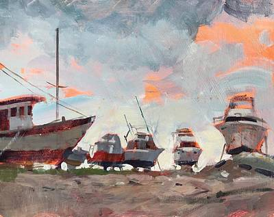 Transportation Paintings - Boatyard Silhouettes by Spencer Meagher