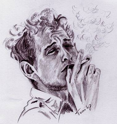 Drawing - Bob Dylan - Blowing In The Wind by Toon De Zwart