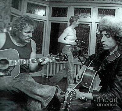 Bob Dylan Drawing - Bob Dylan American Icon And Gordon Lightfoot Canadian Music Icon Jamming by Pd