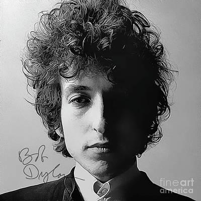 Bob Dylan Art With Autograph Art Print