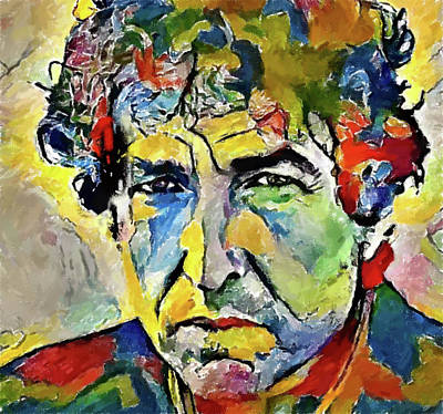 Bob Dylan Digital Art - Bob Dylan Color Portrait by Yury Malkov