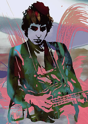 Celebrating Mixed Media - Bob Dylan Modern Etching Art Poster by Kim Wang