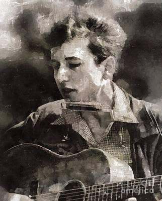 Elvis Presley Painting - Bob Dylan, Musician by Mary Bassett