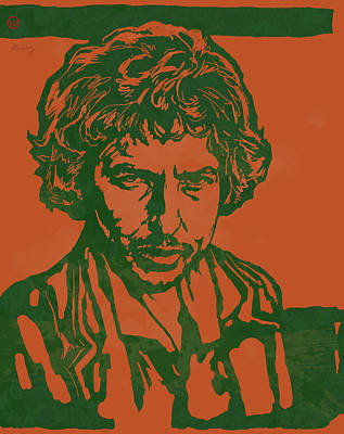 Bob Dylan Pop Stylised Art Sketch Poster Art Print by Kim Wang