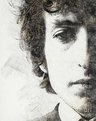 Protest Painting - Bob Dylan Portrait 02 by Pablo Romero