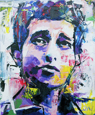 Vivid Colour Painting - Bob Dylan Portrait by Richard Day