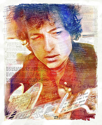 Bob Dylan Digital Art - Bob Dylan Songwriter by Mal Bray
