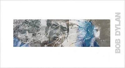 Celebrity Mixed Media - Bob Dylan Triptych by Paul Lovering