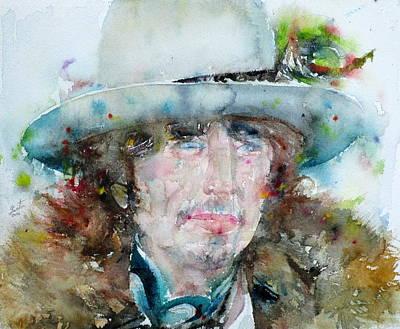 Bob Dylan - Watercolor Portrait.12 Original by Fabrizio Cassetta